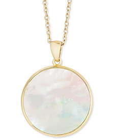 "Mother-of-Pearl Disc 18"" Pendant Necklace in Sterling Silver"