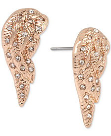 Betsey Johnson Rose Gold-Tone Pavé Angel Wing Stud Earrings