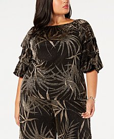 MSK Plus Size Off-The-Shoulder Metallic-Print Top