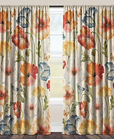 "Multi Watercolor Poppies 84"" Sheer Window Panel"