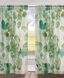 "Green Watercolor Eucalyptus Leaves 84"" Sheer Window Panel"