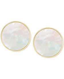 Mother-of-Pearl Disc Stud Earrings