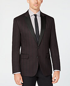 Ryan Seacrest Distinction™ Men's Modern-Fit Stretch Burgundy Check Dinner Jacket, Created for Macy's