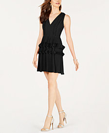 foxiedox Pleated Appliqué Dress