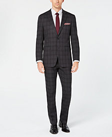Perry Ellis Men's Slim-Fit Stretch Charcoal Plaid Stretch Suit