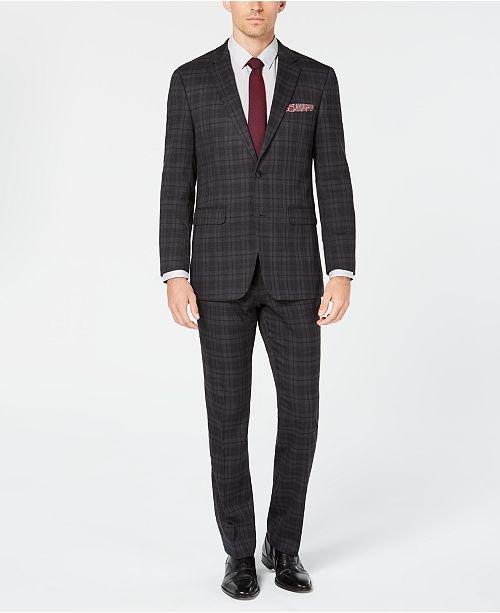 Perry Ellis Men's Slim-Fit Stretch Charcoal Plaid Stretch Suit