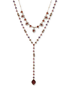 "lonna & lilly Gold-Tone Crystal & Bead 2-in-1 Necklace, 16""/24"" + 3"" extender"