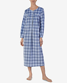 Lanz Printed Microfleece Ballet-Length Nightgown