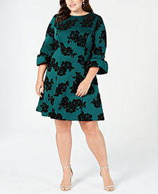 Jessica Howard Plus Size Flocked Velvet Fit & Flare Dress