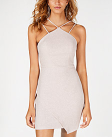Sequin Hearts Juniors' Envelope-Hem Bodycon Dress