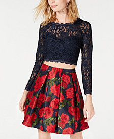 Sequin Hearts Juniors' 2-Pc. Printed Lace Fit & Flare Dress