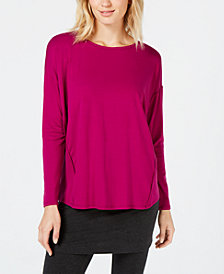 Eileen Fisher Tencel™ Side-Stripe Long-Sleeve Top, Created for Macy's
