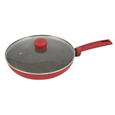 """Moneta Riviera Non-Stick Forged Aluminum 11.5"""" Fry Pan with Lid"""