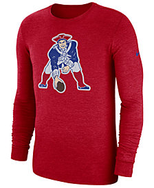 Nike Men's New England Patriots Historic Crackle Long Sleeve Tri-Blend T-Shirt