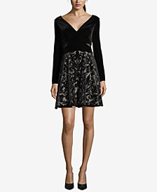 XSCAPE Velvet Burnout Fit & Flare Dress