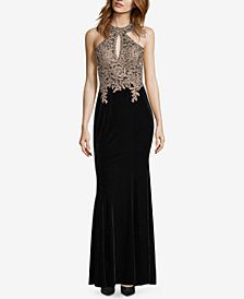 XSCAPE Velvet Embellished Gown
