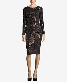 Betsy & Adam Sequined Velvet Dress