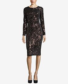 Betsy & Adam Sequined Velvet Dress