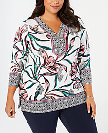 JM Collection Plus Size Embellished Printed Top, Created for Macy's