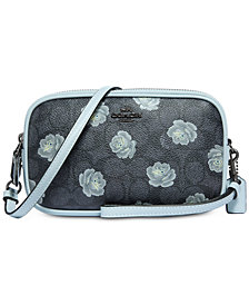 COACH Signature Rose-Print Crossbody Clutch