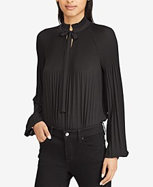 Pleated Tie-Front Top