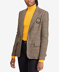 Lauren Ralph Lauren Plaid Bullion-Patch Blazer