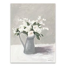 White in Pewter Jug III Hand Embellished Canvas