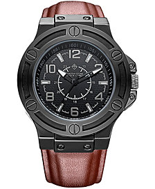Manis' Men's Quartz Oversized Metal and Leather Strap Watch