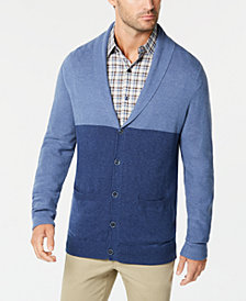 Tasso Elba Men's Colorblocked Shawl-Collar Cardigan, Created for Macy's