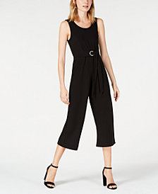 Almost Famous Juniors' Belted Cropped Jumpsuit