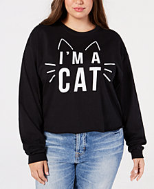 Mighty Fine Plus Size Cotton Cat Long-Sleeve T-Shirt