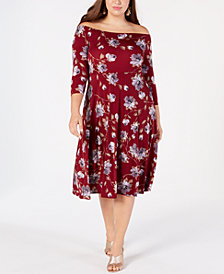 Soprano Trendy Plus Size Off-The-Shoulder Fit & Flare Dress