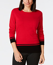 Karen Scott Border-Stripe Sweater, Created for Macy's