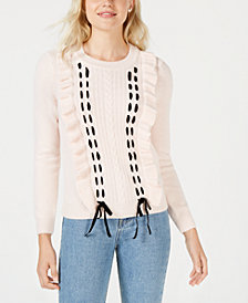Maison Jules Ruffle-Trim Lace-Up Sweater, Created for Macy's