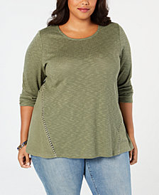 Style & Co Plus Size Waffle-Knit Top, Created for Macy's