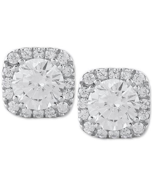 Macy's Diamond Halo Stud Earrings (1/2 ct. t.w.) in 14k White Gold