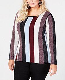 I.N.C. Plus Size Striped Sweater, Created for Macy's