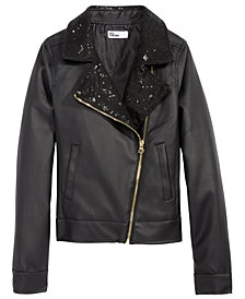 Epic Threads Big Girls Faux Leather Moto Jacket, Created for Macy's