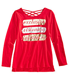 Epic Threads Big Girls Graphic-Print Crisscross-Back T-Shirt, Created for Macy's