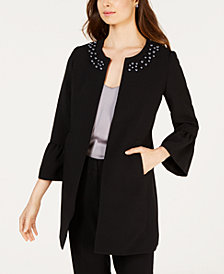 Nine West Jewel-Neck Flyaway Blazer