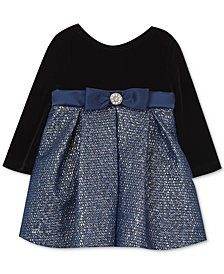 Rare Editions Baby Girls Velvet & Brocade Dress