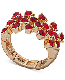 Anne Klein Gold-Tone Stone Stretch Ring