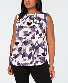 Nine West Plus Size Pleated Shell