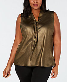 Kasper Plus Size Metallic Tie-Neck Shell