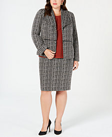 Kasper Plus Size Tweed Jacket, Jewel-Neck Shell & Tweed Skirt