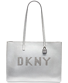 DKNY Metallic Leather Commuter Logo Tote, Created for Macy's