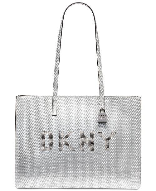 961811ec12dc ... DKNY Metallic Leather Commuter Logo Tote