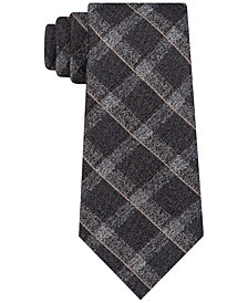 DKNY Men's Channel Chambray Plaid Slim Tie
