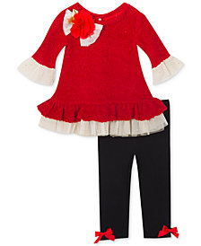 Rare Editions Baby Girls 2-Pc. Ruffle Tunic & Leggings Set