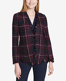 Calvin Klein Fringe-Trim Tweed Blazer
